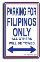 "Philippines - 8"" x 12"" Metal Parking Sign - $11.94"