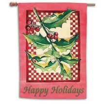 Holly and Berries Toland Art Banner - $24.00