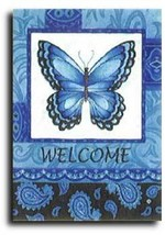Blue Patterned Butterfly Toland Art Banner - $24.00