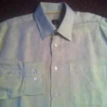ROBERT TALBOTT Casual Dress Shirt SIZE LARGE Solid Light Green EUC Linen - €35,28 EUR