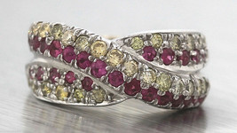 Stunning Ladies 14K White Gold 1.55ctw Pink Sapphire Diamond Crossover Band Ring - $999.95