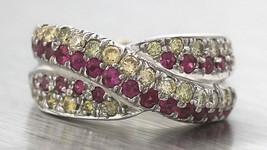 Stunning Ladies 14K White Gold 1.55ctw Pink Sapphire Diamond Crossover B... - $999.95