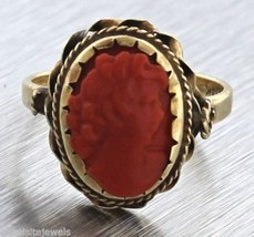 Vintage Victorian Estate Hand Carved Red Coral Cameo Ring 3 Grams - $296.95