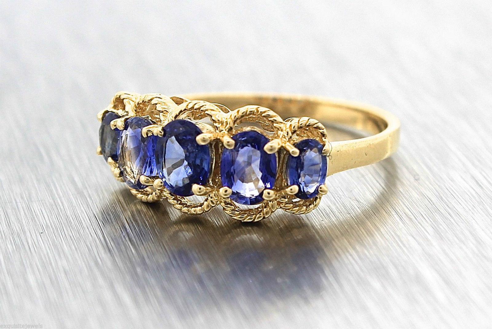 Lovely Ladies Estate 14K Yellow Gold Blue Tanzanite Ring