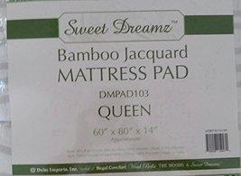 """Sweet Dreamz Bamboo Jacquard Mattress Pad (Queen 60""""x80""""x14"""") - $59.95"""