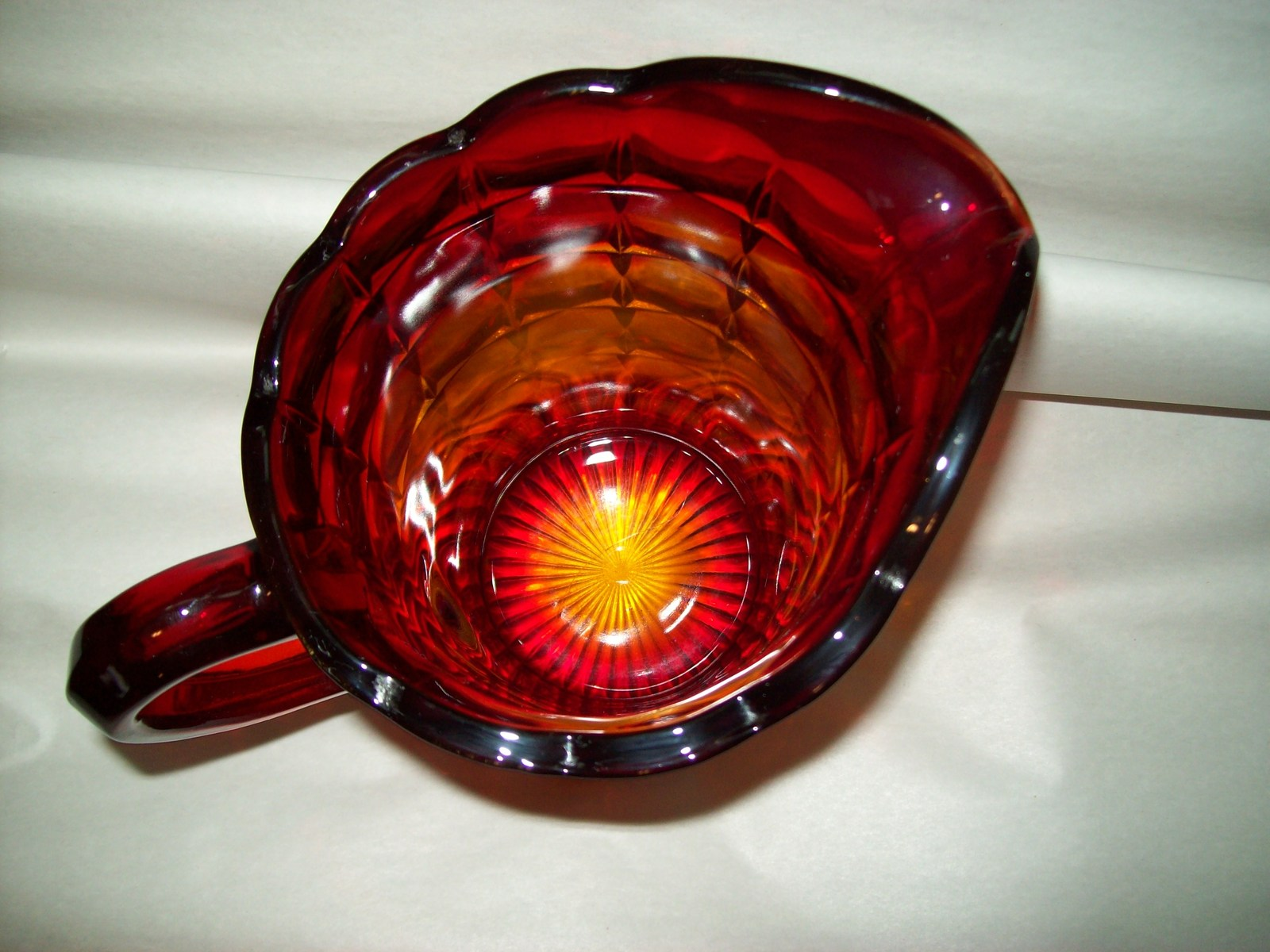 Indiana Glass Tiara Ruby Sunset Amberina Red Constellation Water Pitcher Vintage image 5