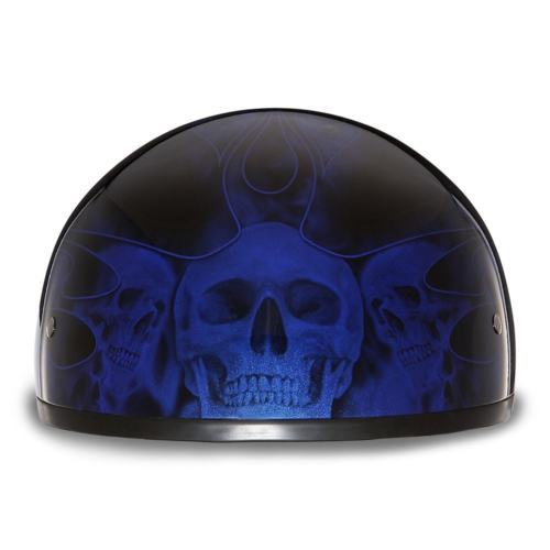ca2ed4a6e4a ... Daytona Helmet Skull Cap W  SKULL FLAMES BLUE Bike DOT Motorcycle  Helmets ...