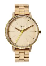 Nixon KENSINGTON Unisex Stainless Steel Band Wristwatch All Gold Neon Ye... - $131.25