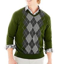 NWT Clairborne ARGYLE SWEATERS RIFLE GREEN Soft Sweater 100% Cotton Reta... - $34.99