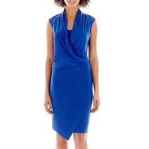 NWT Como Black Sleeveless Cobalt Blue Drape-Neck Faux-Wrap Dress Size S - $808,40 MXN