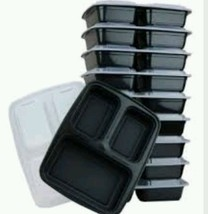 3 Section Food Container Lid Plate Box Lunch Tray Office Work Break Sch... - €23,53 EUR