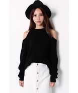 Stylish Chic Scoop Neck Off The Shoulder Black ... - $75.90