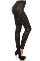 Scratchy Plaid Cross Hatch Leggings (Gold) women - $11.87