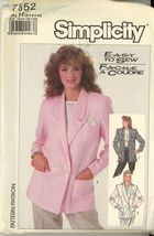 Simplicity 7852 Misses Loose-fitting Unlined Jacket  Siaze 6, 8, 10 uncut - $2.00