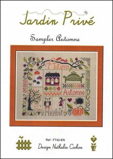 Sampler automne cross stitch chart jardin prive cross for Jardin prive