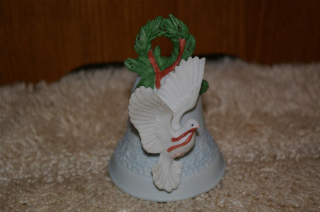 Primary image for ENESCO Christmas Bell By Mary Rhyner 1992 Dove Wreath