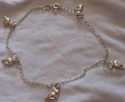 Silver rabbit anklet