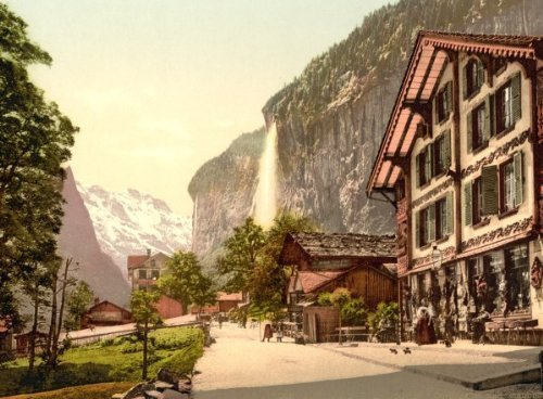 Lauterbrunnen Valley, street view with Staubbach Waterfall, Bernese Oberland, c4 - $12.99