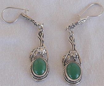 Dangling green earrings
