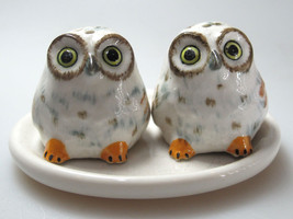 Craft Miniature Collectible Porcelain Fat White Owl Salt and Pepper - $14.85