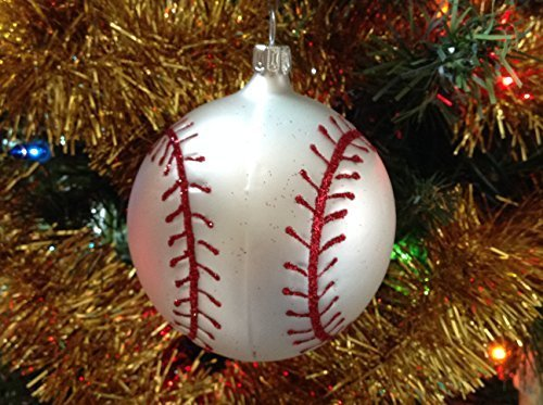 Baseball Hand Painted Glass Ornament [Kitchen]