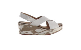 b8d37733191 Clarks Leather Cross Band Wedge Sandals Stasha Hale White 8.5M NEW A274221  -  43.54