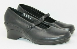 Clarks Size 8.5 M Black Leather Mary Janes Comfort Slip On Shoes Square Toe - $24.22