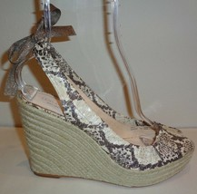 Coach Size 10 MARITZA SNAKE Natural Leather Jute Wedge Sandals New Womens Shoes - $127.71