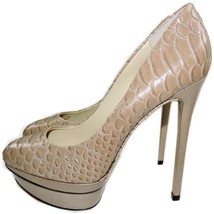 Brian Atwood Fontanne Snake-Embossed Leather Platform Pump 7 Heels Shoes... - $139.00