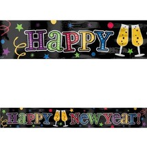 Happy New Year Foil Party Banner 9 ft Wall Decoration Colorful Jewel Tones - $3.79
