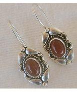 Red oriental silver earrings - $14.00