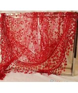 red LACE TASSEL ROSE FLORAL KNIT MANTILLA TRIANGLE HOLLOW SCARF SHAWL WRAP - £9.70 GBP