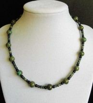"""16"""" genuine green lace stone, ceramic, and green artglass bead necklace - $50.00"""