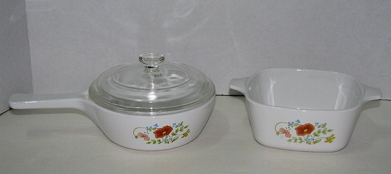 3 Piece Corning Ware Wildflower Sauce Pan w lid and 2 3/4 cup Casserole