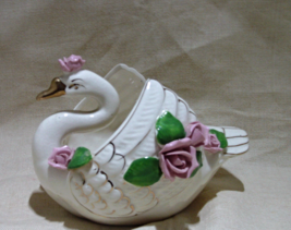 Vintage SWAN figural Planter with Applied Roses // Swan trinket Dish - ₹905.34 INR