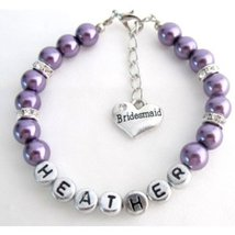 Personalized Bridesmaid Purple Pearl Bracelet Flower Girl Personalize Br... - $12.00