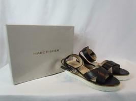 NIB Marc Fisher Espadrille Platform Sandal Ankle Strap Black Criss Cross 8 M - $59.18