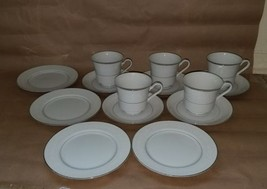 4 plates 5 cups and plates fine china set white... - $37.40