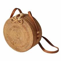Forart Handwoven Round Rattan Bag Shoulder Leather Straps Natural Chic C... - $32.17