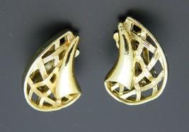 Gold Tone Basket Weave Clip On Earrings Vintage - $13.86