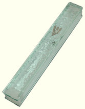 Judaica Mezuzah Case Clear Glass Silver SHIN 12 cm Irregular Facet Design