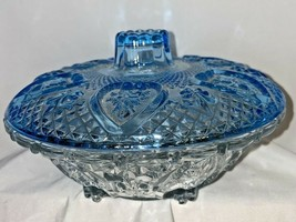 "Candy Bowl w/ lid Clear Base Blue Lid Glass Trinkets Center Piece 6 3/4""  - $9.89"