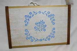 Vintage White & Blue Floral Decorated  Wood Tri... - $32.33