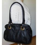 B. Makowsky Black Satchel Pebble Grain Leather Purse Shoulder Bag Tote - $59.97