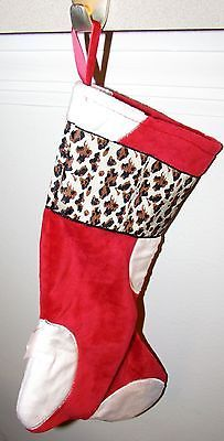 CoCaLo Christmas Stocking Red/White with Leopard Print