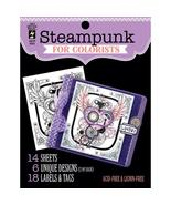 Steampunk Hot Off The Press Colorist Coloring Book 5x6  - £4.84 GBP