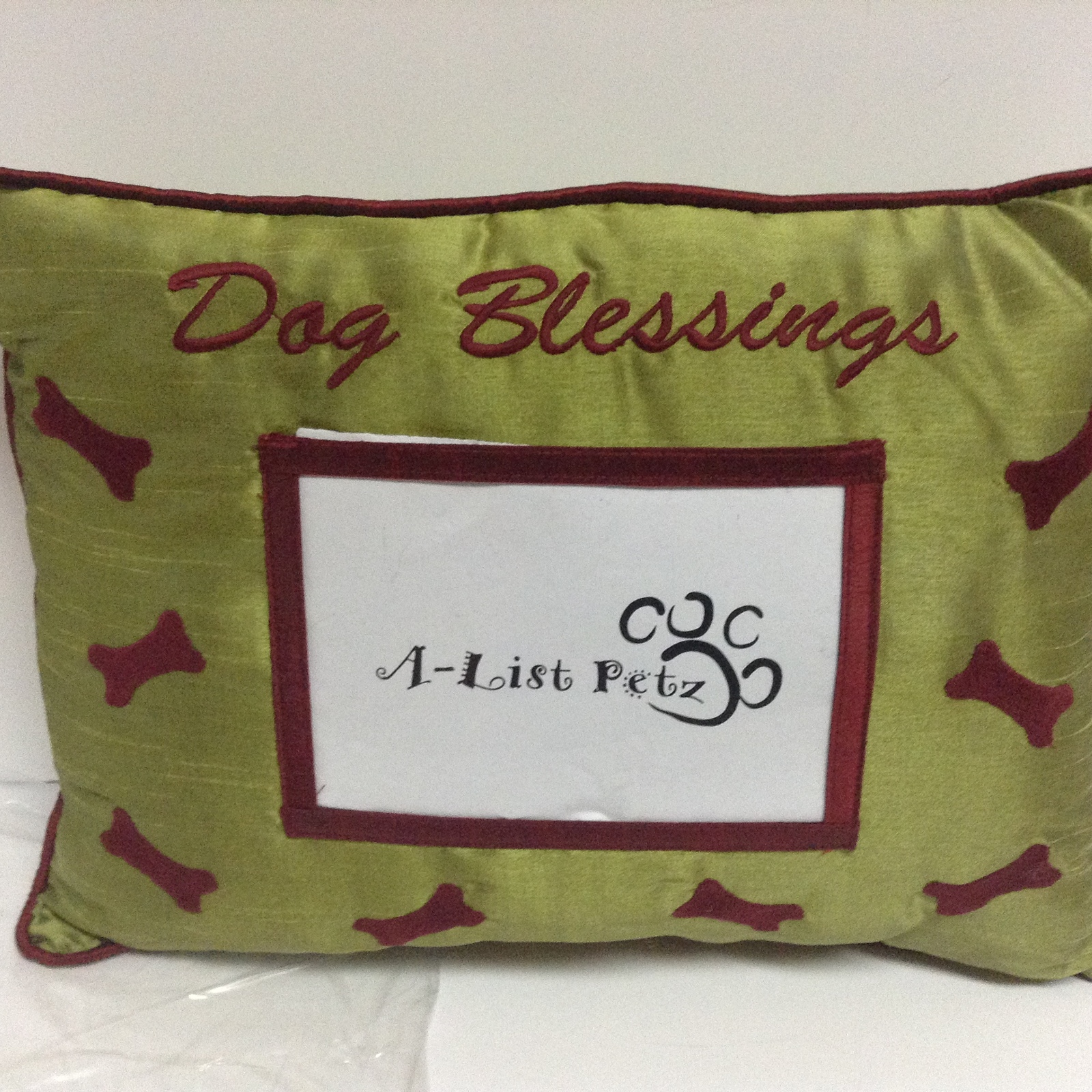 Pet Pillow With Photo Pocket DOG BLESSINGS Green NWT