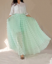 Mint Green Tiered Tulle Skirt High Waisted Tiered Long Tulle Skirt Outfit  image 3