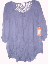 FADED GLORY TEXTURE TIE FRONT BLOUSE BLUE SAPPHIRE 1X (16w) LACE CONTRAS... - $16.99