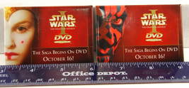 STAR WARS Phantom Menace Darth Maul Queen Amidala DVD Release Promo Pins... - $12.99